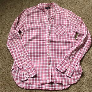American Eagle Pink Checkered Button Down